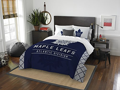 Officially Licensed NHL Toronto Maple Leafs Draft Full/Queen Comforter and 2 Sham Set (Bedding Toronto Sets)