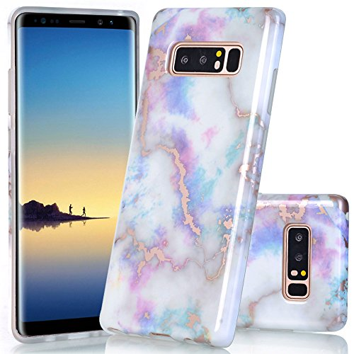 BAISRKE Galaxy Note 8 Case, Shiny Rose Gold Marble Design Bumper TPU Soft Rubber Silicone Cover Phone Case for Samsung Galaxy Note 8 (2017) - Colorful