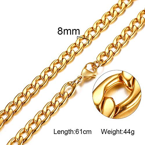 Elibone Silver Gold Filled Solid Necklace Curb Chains Link Men Choker Stainless Steel Male Female Accessories Fashion 2019