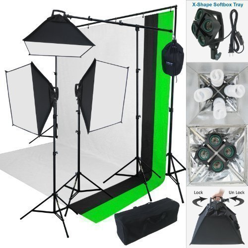 Linco Lincostore 2000 Watt Photo Studio Lighting Kit With 3 Color Muslin Backdrop Stand Photography Flora X Fluorescent 4-Socket Light Bank and Auto Pop-Up Softbox -- Only takes 3 seconds to Set-up by Linco