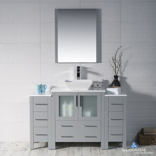 BLOSSOM 001-54-15-1616V-DSC Sydney 54'' Vanity Set with Vessel Sink and Double Side Cabinets Metal Gray by Blossom