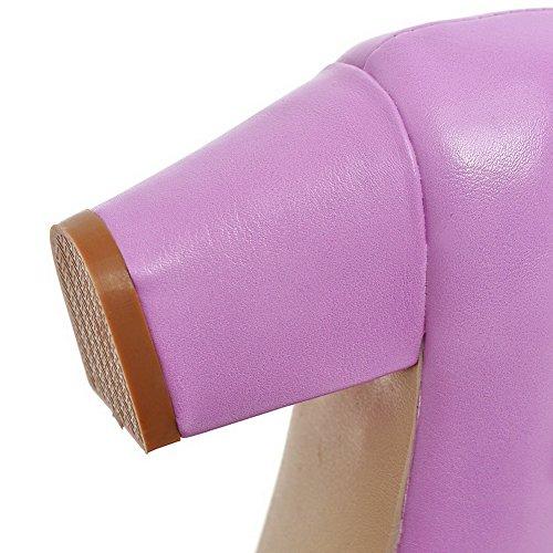 Couleur Rond PU à Tire Cuir Odomolor Chaussures Violet Femme Talon Légeres Correct Unie BIzwWpYaq