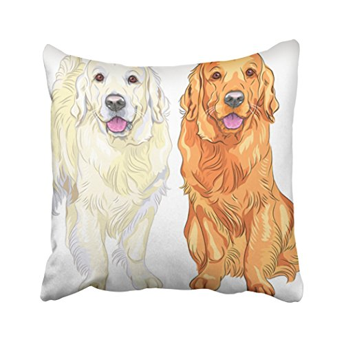 Emvency Throw Pillow Cover 18X18 Inch Polyester Black Smiling Pale And Red Gun Dog Breed Golden Retriever Sitting And Staying Yellow Puppy Decorative Pillowcase Two Sides Square Print For Home ()