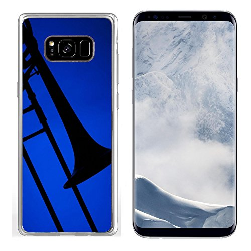 Liili Samsung Galaxy S8 plus Clear case Soft TPU Rubber Silicone Bumper Snap Cases A trombone music instrument silhouette isolated against a blue background Photo ()