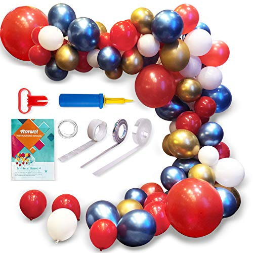 Latex Balloons for Garland,Parties Balloon Arch Ganland Kit 95 Pieces | Red | Blue | Gold | White Balloons for Baby Showers, Weddings, Graduations, Corporate Events, Engagements]()