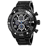 Akribos XXIV Extremis Mens Casual Watch - Engraved Vertical Lines Dial - Chronograph Quartz - Alloy Strap - Black