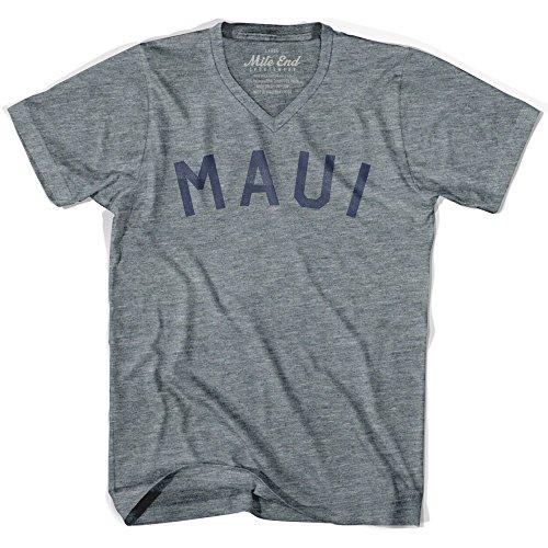 Vintage Print V-neck Tee (Maui City Vintage V-neck T-shirt, Athletic Grey, Adult X-Large)