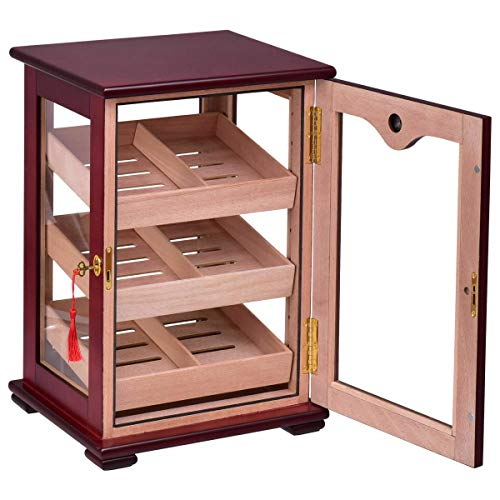 $214.00 antique humidor 150 Cigars Storage Cabinet Humidifier Hygrometer Countertop Display Humidor 2019