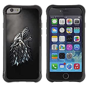 "Planetar® ( Metal Wolf ) 4.7"" iPhone 6 Hybrid Heavy Duty Shockproof TPU Fundas Cover Cubre Case"