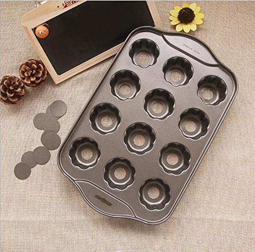 - 1 piece Nonstick Deluxe 12 Mini Cheesecake Pan Flower Shaped Muffins Quiches Coffee Cake Mold DIY Baking Tool With Color Box