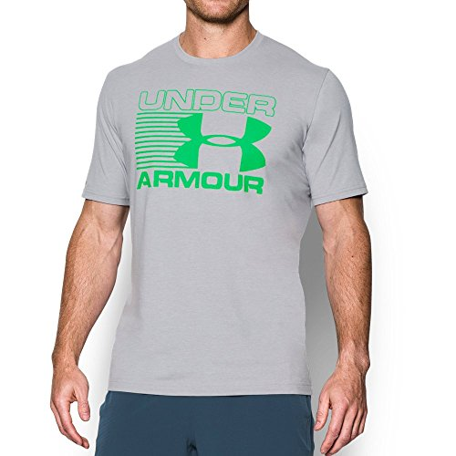 Under Armour Men's Blitz Logo T-Shirt, True Gray Heather/Northern Lights, Small