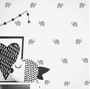 Cute Elephant Decal -36 Set Elephant Wall Decor Stickers Kids Bedroom- Art Vinyl Removable Nursery Room Wall Decals (Light Gray)