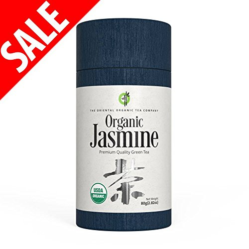 The Oriental Organic-Premium Jasmine Green Tea-(40+ servings)-2.82oz(80g)-Loose Leaf Tea-USDA Approved