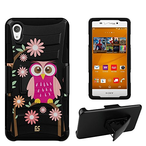 Spots8« Image Design Cases for Sony Xperia Z3V - Prime Series Dual Layer Holster Case Plus Kickstand with Design Image + Locking Belt Swivel Clip - Pink owl Design