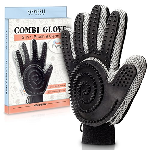 Pet Hair Remover & Grooming Tool - Cat & Dog Brush - For Short & Medium Fur - Pet Glove - THE COMBI GLOVE by HIPPIEPET - A New Pet Brushing Experience