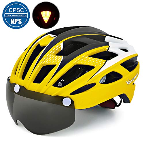 VICTGOAL Bike Helmet for Men Women with Safety Led Back Light Detachable Magnetic Goggles Visor Mountain & Road Bicycle Helmets Adjustable Adult Cycling Helmets (New Yellow)