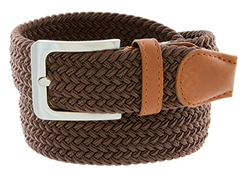 Braided Elastic Fabric Woven Stretch Belt Leather Inlay (Brown, Medium)