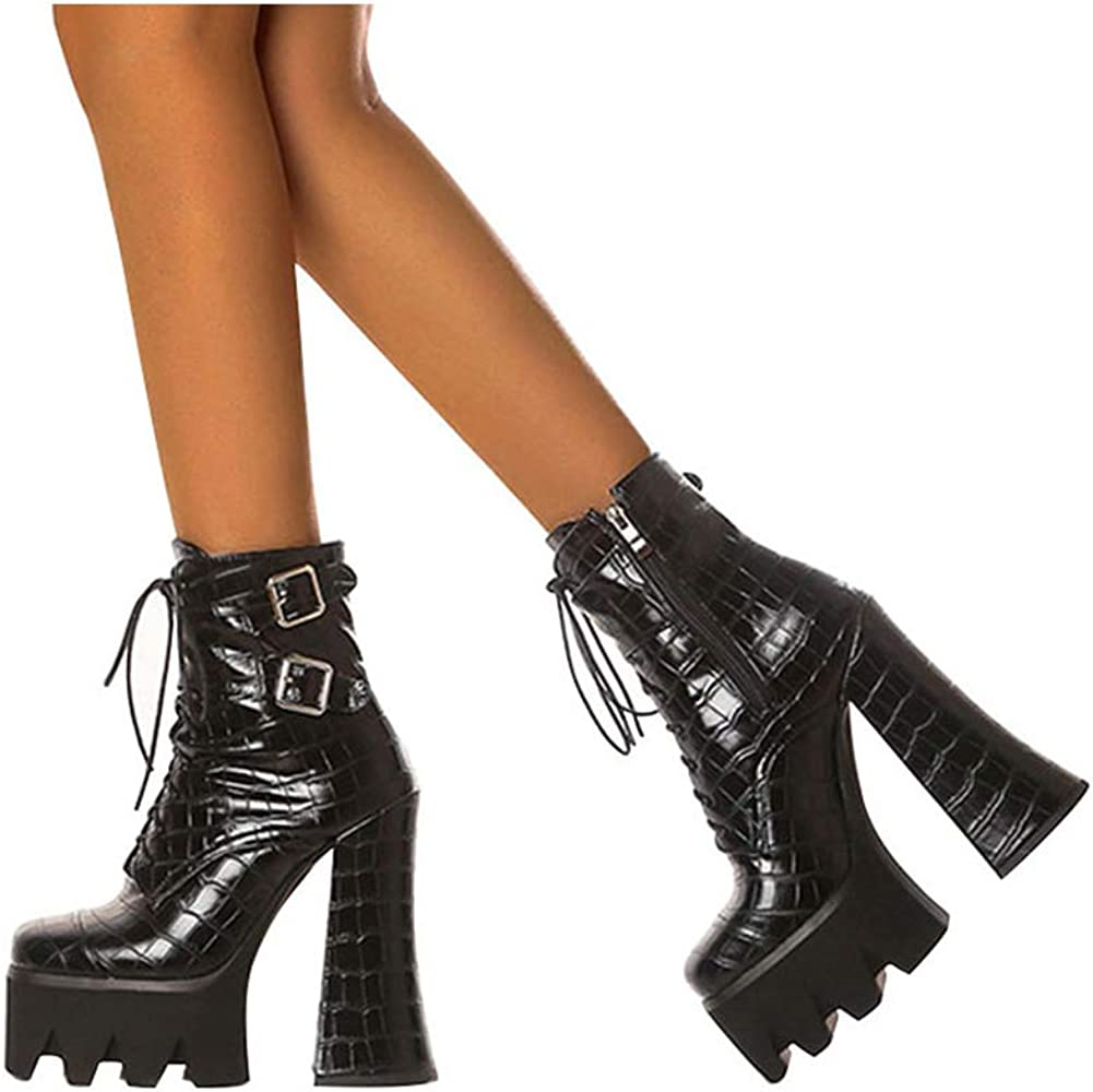 Gothic New Mid Calf High Heels Boots Womens Military Pumps Lace Up Riding Boots