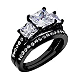 FlameReflection Wedding Band Sets For Women Black Stainless Steel Engagement Ring Set Princess Cut Size 9