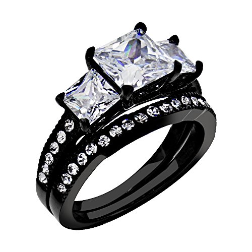 FlameReflection Wedding Band Sets For Women Black Stainless Steel Engagement Ring Set Princess Cut Size (Black Stainless Steel Ring)