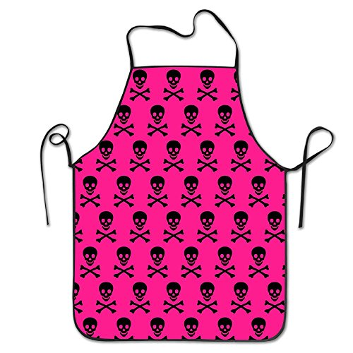 Pink Skull Wallpaper Bib Apron For Women And Men - Adjustable Neck Strap - Restaurant Home Kitchen Apron Bib For Cooking, Grill And Baking, Crafting, Gardening, BBQ