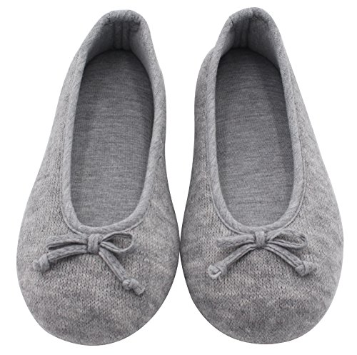 Pictures of HomeTop Women's Elegant Cashmere Knitted Memory Foam Indoor Ballerina House Slippers/Shoes (Medium / 7-8 B(M) US, Gray) 7