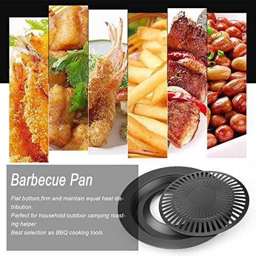 Portable Forme Ronde sans Fumée Barbecue Intérieur Barbecue avec Brosse Anti-Adhésif Barbecue Pan Plateau De Rôtissage Cuisine Barbecue Cuisson Outils #Pennytupu