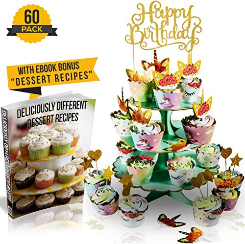 Happy Wrappers - Unicorn Birthday Decorations (60-Piece Set) | Double Sided Cupcake Toppers And Wrappers Rainbow Liners Party Decor | 3-Tier Dessert Stand, Happy Birthday Sign, 24 Wrappers, 24 Toppers, 5 Hearts, 5 Stars | incl. Dessert Recipes Ebook