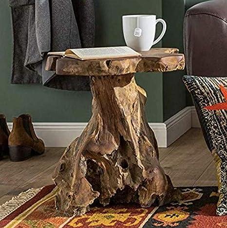 Mesa auxiliar rústica para salón, mueble de madera, sofá con ...