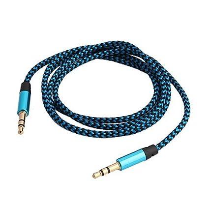 eDealMax Nylon teléfono de la tableta de cuerda trenzada Macho a Macho de extensión de Audio