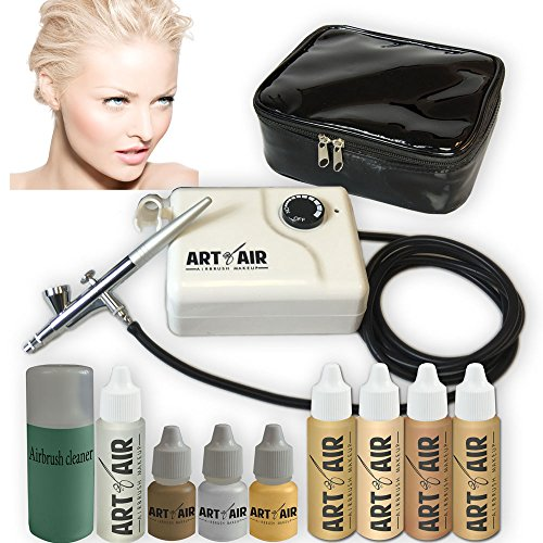 Art of Air FAIR Complexion Professional Airbrush Cosmetic Makeup System / 4pc Foundation Set with Blush, Bronzer, Shimmer and Primer Makeup Airbrush Kit ()