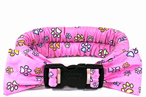 Calm Me Down - Calming Collars for Dog Anxiety - Medium, Pink with Paw Prints