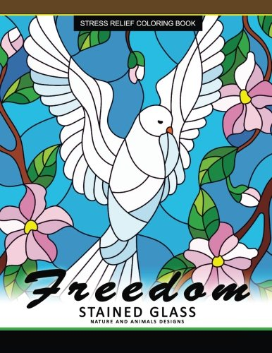 Freedom Stain Glass coloring Book: Adult Coloring Books Flower Design Patterns for Relaxation and Stress - Glasses Pattern Turtle