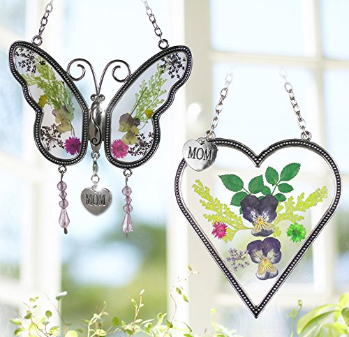Mom Gifts - Mom Butterfly and Heart Sun Catcher Set - Stained Glass Suncatchers with Pressed Flowers - Engraved Silver Mom (Purple Butterfly Stained Glass)