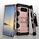 Military Grade Certified Storm Tank Hybrid Case with Holster and Screen Protector for Samsung Galaxy Note 8 - Rose Gold