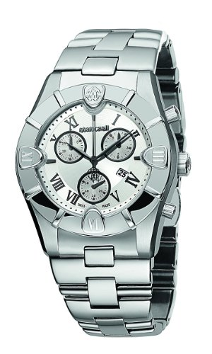 Roberto Cavalli Men's Diamond Chronograph Watch R7253616015 with Quartz Movement, Stainless Steel Bracelet and Silver ()