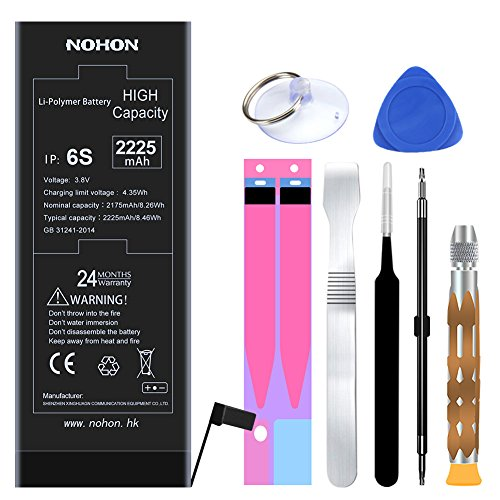 NOHON Replacement Battery for iPhone 6s - High Capacity 2225 mAh Li-ion Battery with Complete Repair Tool Kit and Instructions - Included 24 Months Warranty (High Capacity Battery Kit)