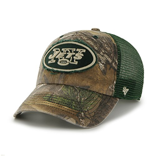 NFL New York Jets '47 Huntsman Closer Camo Mesh Stretch Fit Hat, One Size, Realtree Camouflage