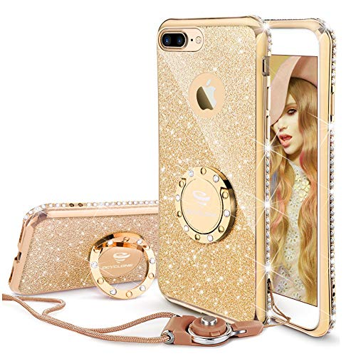 Cell Case Bling Phone - OCYCLONE iPhone 8 Plus Case, iPhone 7 Plus Case for Girl Women, Glitter Cute Girly Diamond Rhinestone Bumper with Ring Kickstand Protective Phone Case for iPhone 8 Plus / 7 Plus - Gold