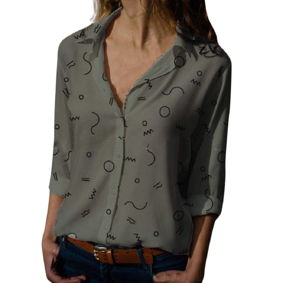 LowProfile Womens Geometric Patterned Casual Blouse Turndown Lapel Button Up Ladies Shirts Long Sleeve Stylish Tunic