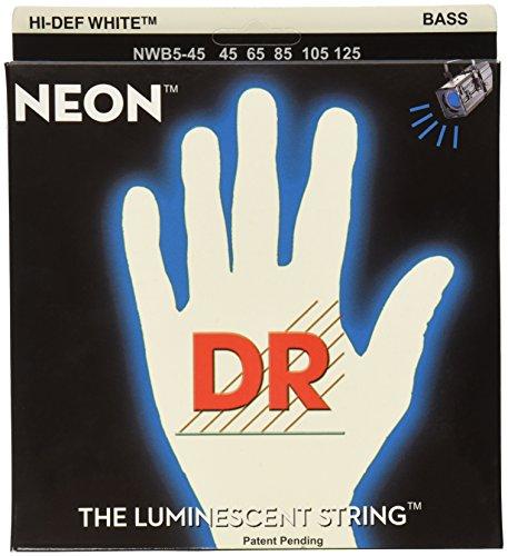 DR Strings NWB5-45 DR NEON 5 Bass Guitar String, Medium, White