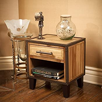 this item glendora industrial solid wood single drawer end table nightstand