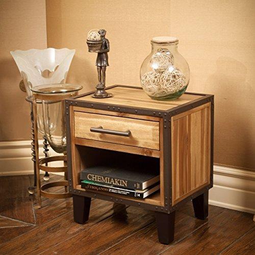 GDF Studio 295292 Glendora Industrial Solid Wood Single Drawer End Table Nightstand, Brown