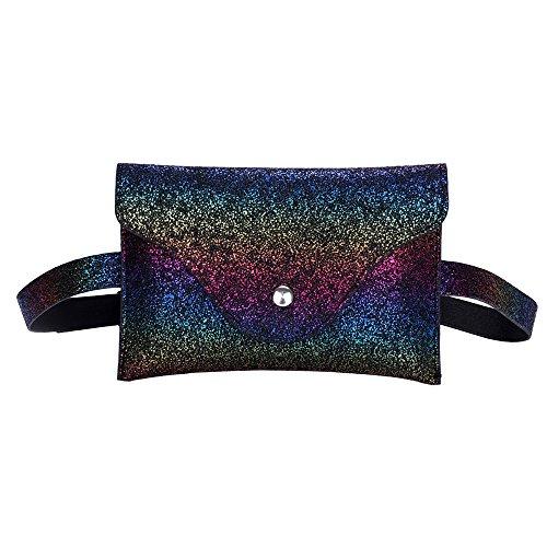 Waist Bag,Robemon Bum Pack Casual Chest Bag Messenger Women Fashion Sequins Leather Messenger Bag A