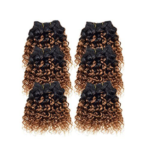 Emmet 7A Afro Kinky Curly Hair Weaves 6pcs/lot 300g 50g/pc Brazilian Human Hair Extensions (Famous People With Wigs)