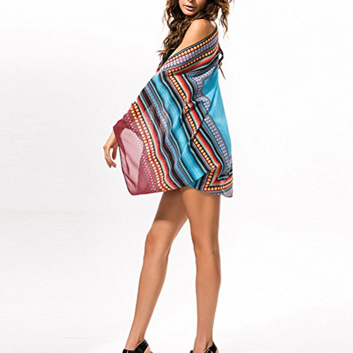 Zhhlaixing Moda Fashion Women Bohemian Chiffon Seaside Sunscreen Shawl Beach Cover Blouse