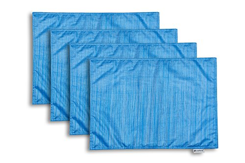 Print Placemat Set (Set of 4 Euphoria CaliTime Kitchen Placemats Light Weight Dyed Stripes Blue Color 13
