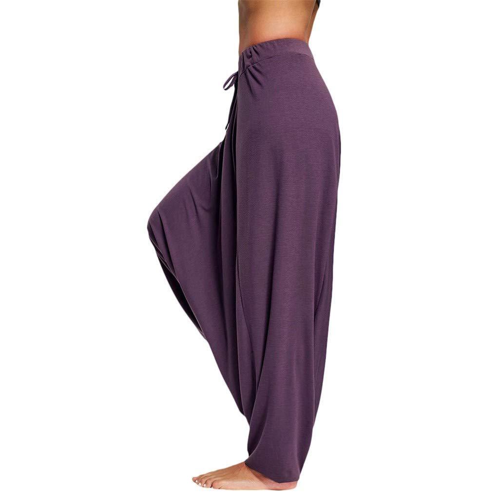 Harem Pants Women's Hippie Bohemian Yoga Pants, Elastic Roomy Super Comfy Drop Crotch Summer Pants(Purple, S)