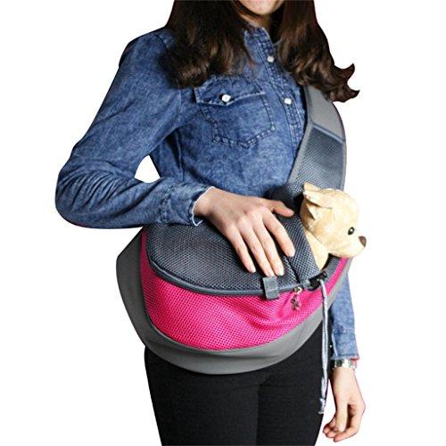 PetsLove Comfortable Polyester Dog Sling Bag Pet Carrier Cat Bag Shoulder Bag for Dog Outside Walking Small Rose Red