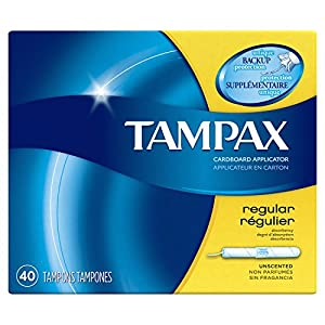 Tampax Cardboard Tampons, Regular Absorbency, Unscented, 40 count